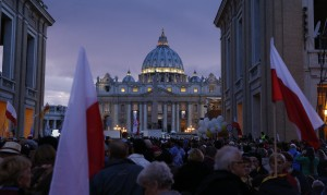 Pilgrims wait on Via della Conciliazione outside St. Peter's Square at Vatican