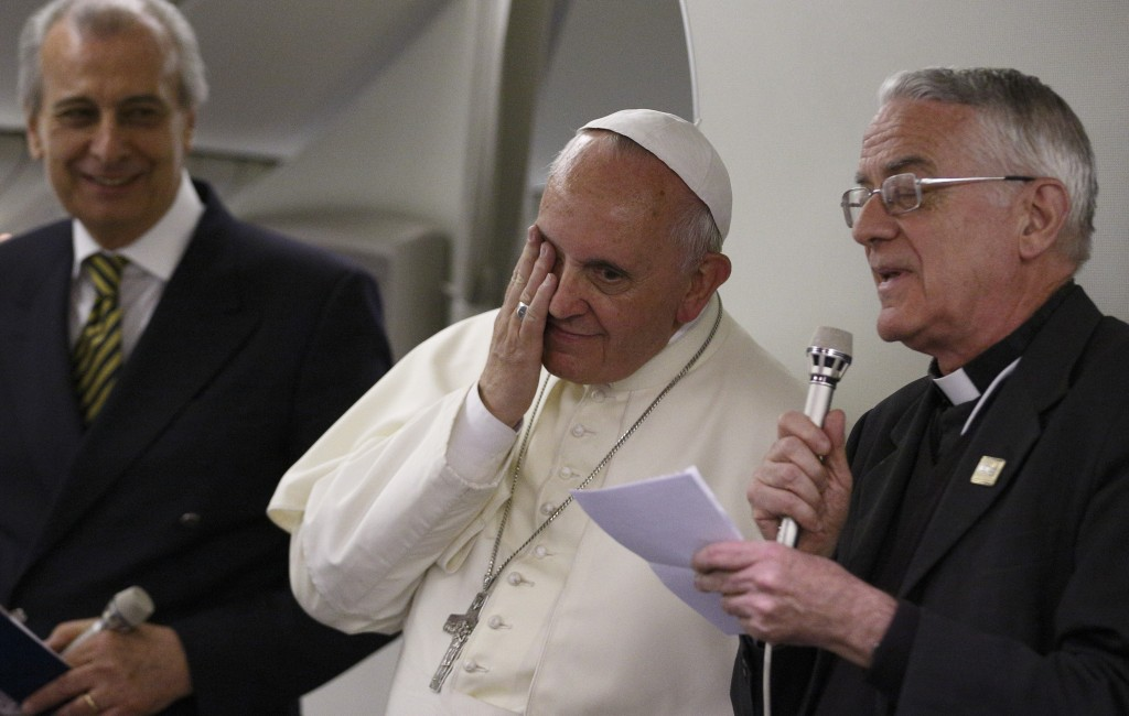 Pope Francis answers questions from journalists aboard flight from Tel Aviv to Rome