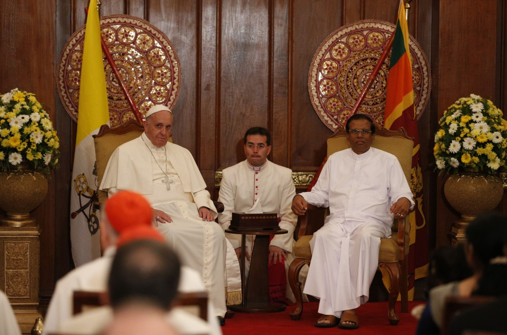 Pope Francis and Sri Lankan President Maithripala Sirisena visit in a presidential office in Colombo