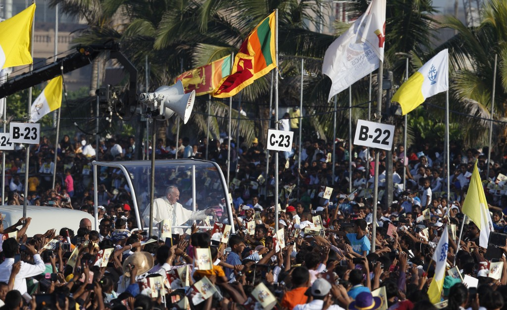 Pope Francis celebrates canonization Mass of St. Joseph Vaz in Colombo, Sri Lanka