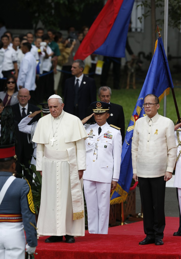 Pope Francis during welcoming ceremony at presidential palace in Manila, Philippines