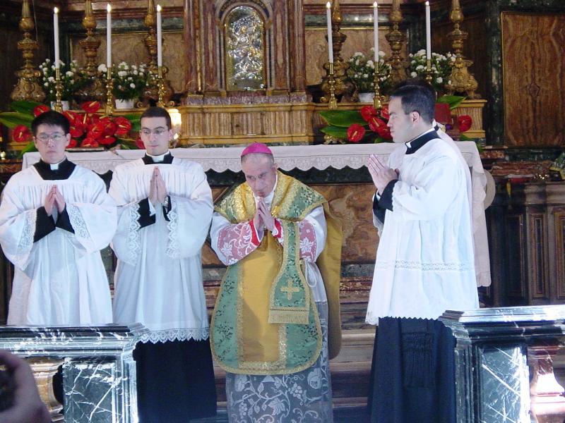 His Excellency Archbishop Luigi De Magistris celebrates Sunday Mass at  Church of Gesu e Maria
