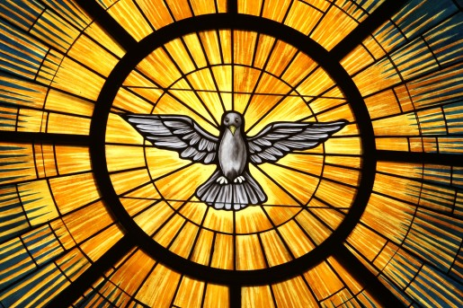 The Holy Spirit, traditionally depicted as a dove, is pictured in a stained-glass window at St. John Vianney Church in Lithia Springs, Ga. The feast of Pentecost, marking the descent of the Holy Spirit upon the apostles, is May 24 this year. (CNS photo/Michael Alexander, Georgia Bulletin)