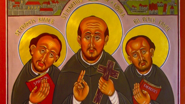 St. Francis Xavier, St. Ignatius of Loyola and Blessed Peter Faber are shown in an icon