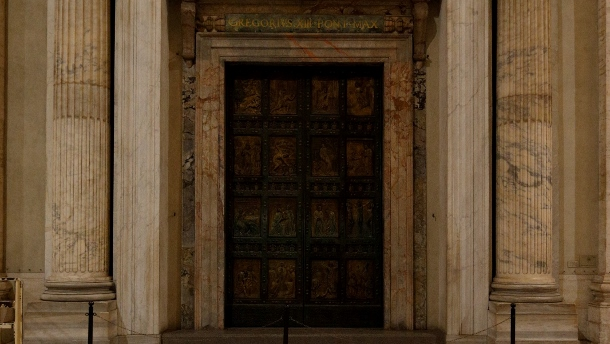 Holy Door pictured in St. Peter's Basilica
