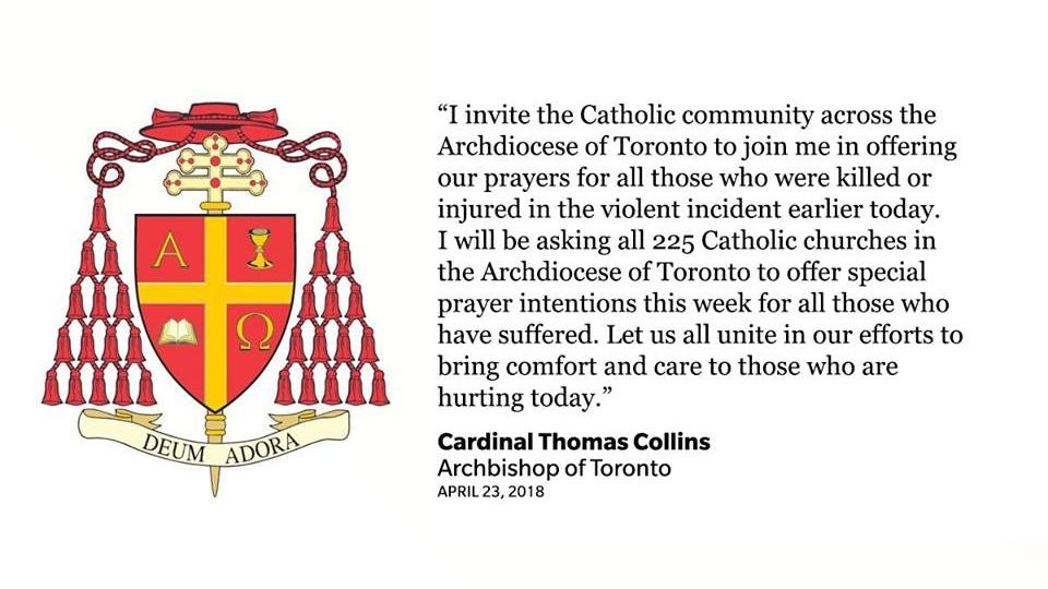 多倫多總主教為多倫多襲擊的死傷者祈禱