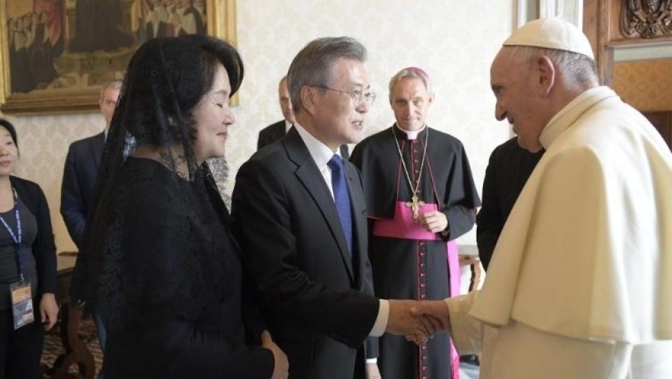教宗接見韓國總統文在寅