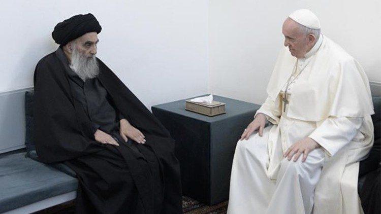 教宗方濟各會晤伊拉克什葉派團體領導人西斯塔尼